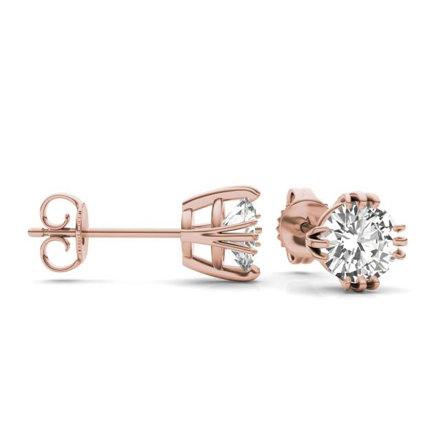 1.60 CTW Round Forever One Moissanite Solitaire Stud Earrings in 14K Rose Gold