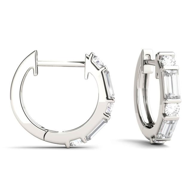 0.64 CTW Straight Baguette Forever One Moissanite Hoop Earrings in 14K White Gold