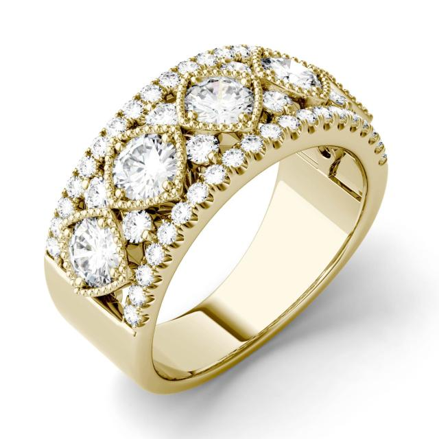 Forever One 1.79CTW Round Moissanite Shared Prong Filigree Band in 14K Yellow Gold
