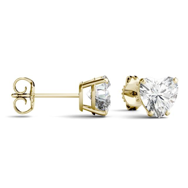 2.00 CTW Heart Forever One Moissanite Solitaire Stud Earrings in 14K Yellow Gold