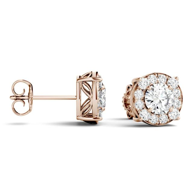 1.32 CTW Round Forever One Moissanite Halo Four Prong Stud Earrings in 14K Rose Gold