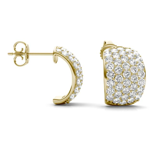 1.79 CTW Round Forever One Moissanite Five Row Hoop Earrings in 14K Yellow Gold