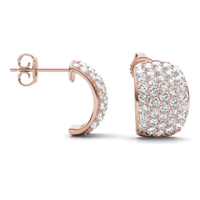 1.79 CTW Round Forever One Moissanite Five Row Hoop Earrings in 14K Rose Gold