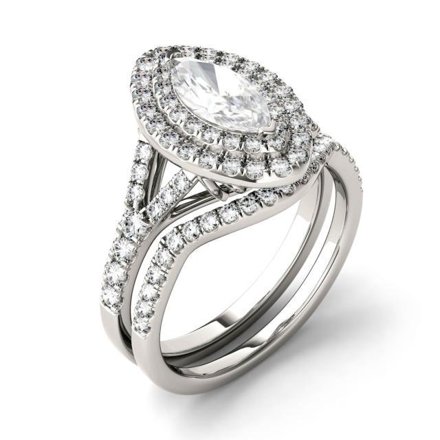 Forever One 1.86CTW Marquise Moissanite Split Shank Double Halo Bridal Set in 14K White Gold