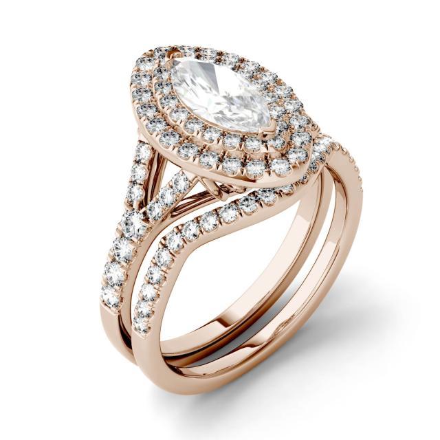 Forever One 1.86CTW Marquise Moissanite Split Shank Double Halo Bridal Set in 14K Rose Gold