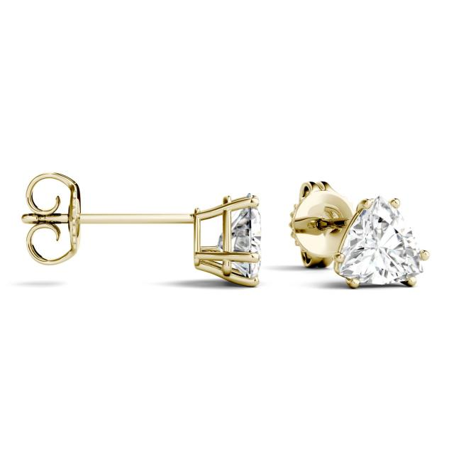 1.00 CTW Trillion Forever One Moissanite Solitaire Stud Earrings in 14K Yellow Gold