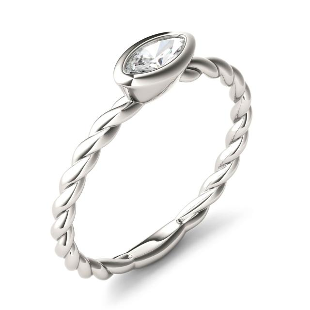 Forever One 0.23CTW Marquise Moissanite Twisted Bezel Set Ring in 14K White Gold