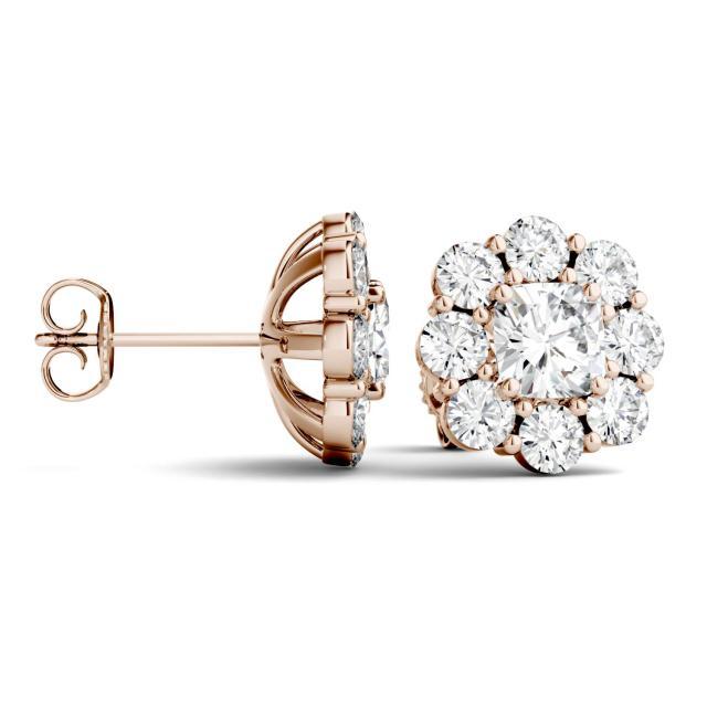3.20 CTW Cushion Forever One Moissanite Floral Stud Earrings in 14K Rose Gold