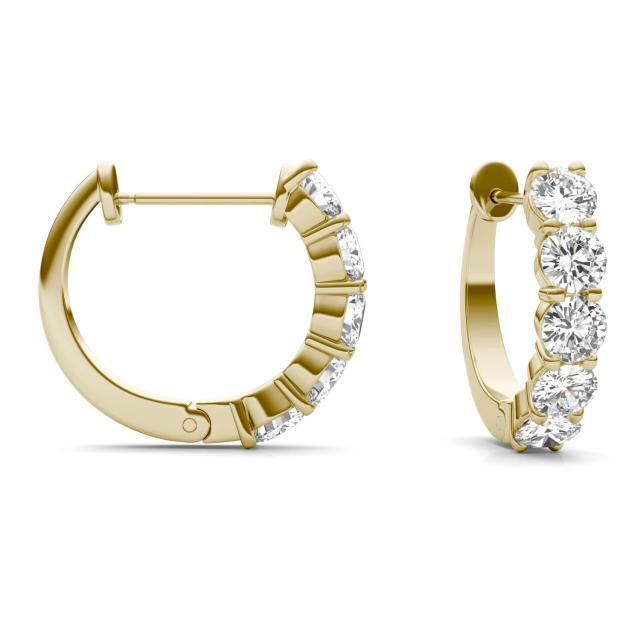 1.60 CTW Round Forever One Moissanite Mini Hoop Earrings in 14K Yellow Gold
