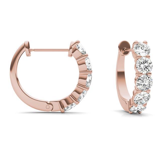 1.60 CTW Round Forever One Moissanite Mini Hoop Earrings in 14K Rose Gold