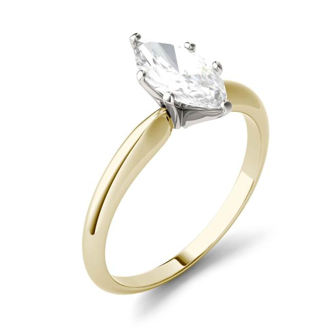 Forever One 1.00CTW Marquise Moissanite Solitaire Engagement Ring in 14K Yellow Gold