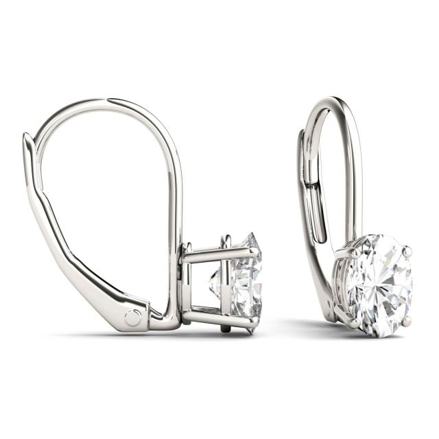 1.00 CTW Oval Forever One Moissanite Leverback Earrings in 14K White Gold