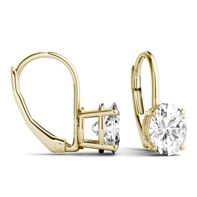 1.80 CTW Oval Forever One Moissanite Leverback Earrings in 14K Yellow Gold