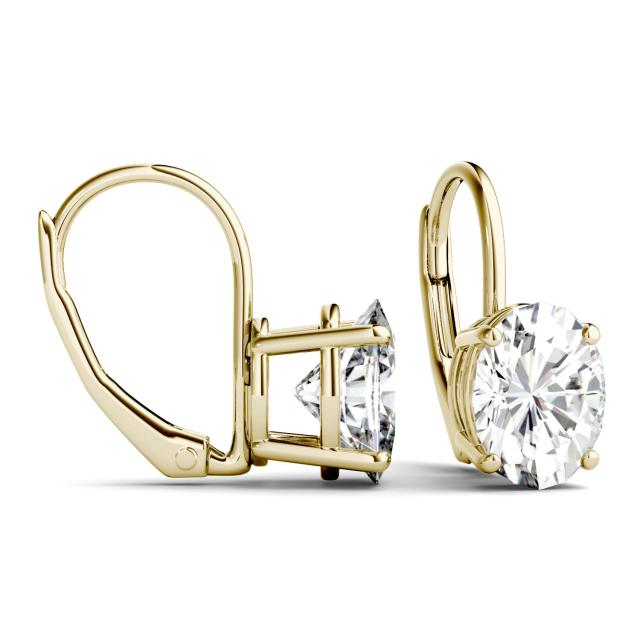 3.00 CTW Oval Forever One Moissanite Leverback Earrings in 14K Yellow Gold