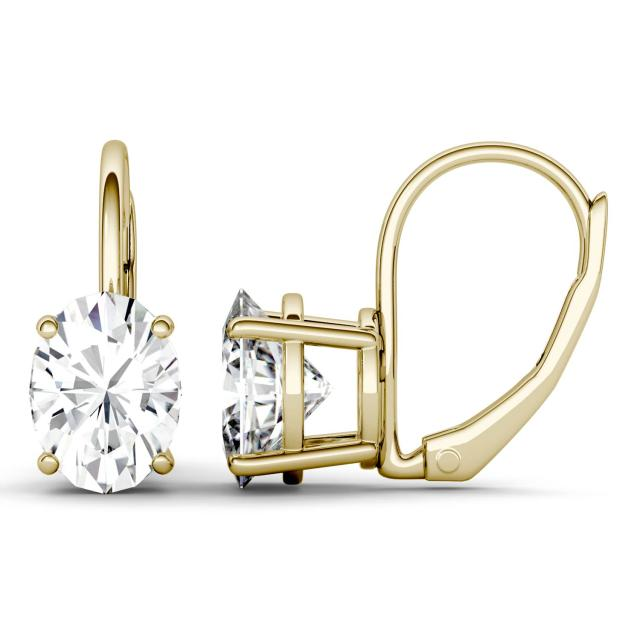 3.00 CTW DEW Oval Forever One Moissanite Leverback Earrings in 14K Yellow Gold
