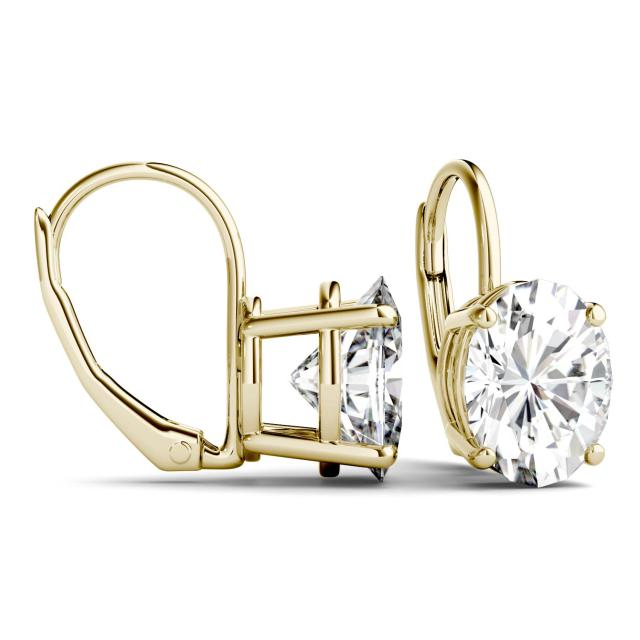 4.20 CTW Oval Forever One Moissanite Leverback Earrings in 14K Yellow Gold