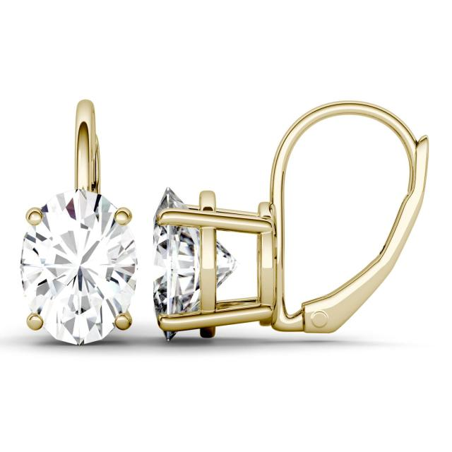 4.20 CTW DEW Oval Forever One Moissanite Leverback Earrings in 14K Yellow Gold