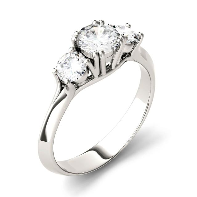 1.06 CTW DEW Round Forever One Moissanite Three Stone Engagement Ring in 14K White Gold