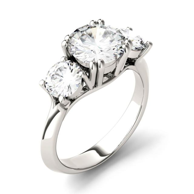 3.10 CTW DEW Round Forever One Moissanite Three Stone Engagement Ring in 14K White Gold