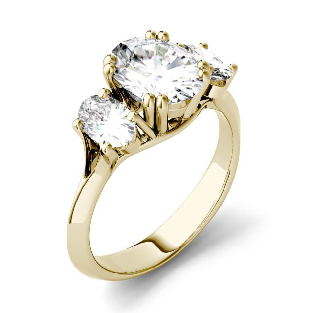 Forever One 3.10CTW Oval Moissanite Three Stone Engagement Ring in 14K Yellow Gold
