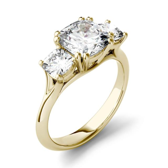 Forever One 3.00CTW Cushion Moissanite Three Stone Engagement Ring in 14K Yellow Gold