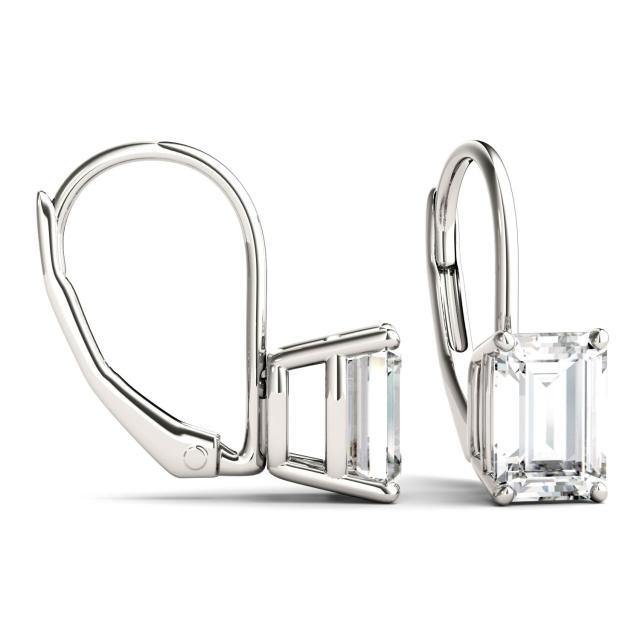 2.02 CTW Emerald Forever One Moissanite Leverback Earrings in 14K White Gold