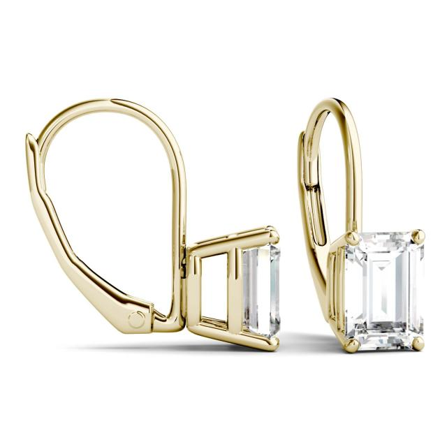 2.02 CTW Emerald Forever One Moissanite Leverback Earrings in 14K Yellow Gold