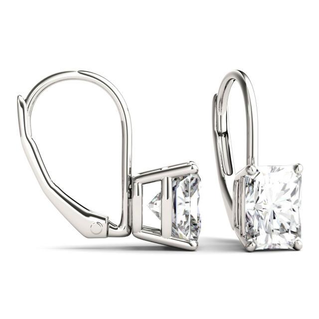 2.40 CTW Radiant Forever One Moissanite Leverback Earrings in 14K White Gold
