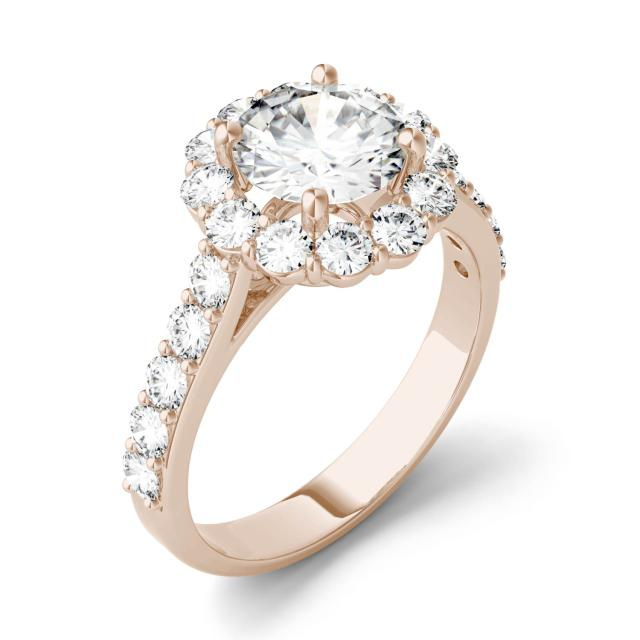 Forever One 2.60CTW Round Moissanite Halo with Side Accents Engagement Ring in 14K Rose Gold