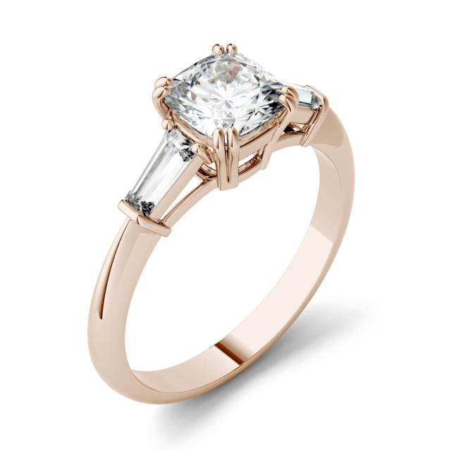 1.47 CTW DEW Cushion Forever One Moissanite Three Stone Engagement Ring in 14K Rose Gold