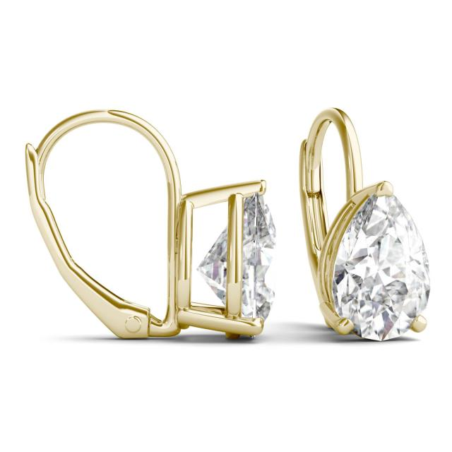 3.00 CTW Pear Forever One Moissanite Drop Earrings in 14K Yellow Gold