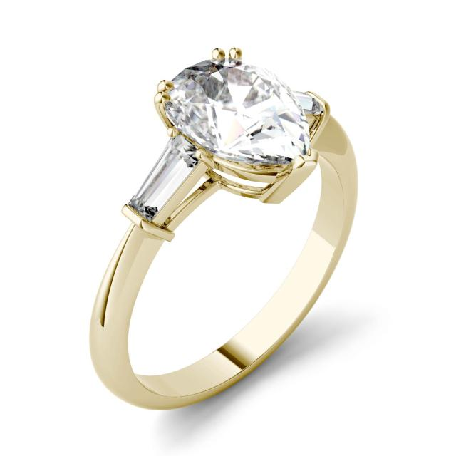 Forever One 2.47CTW Pear Moissanite Three Stone Engagement Ring in 14K Yellow Gold