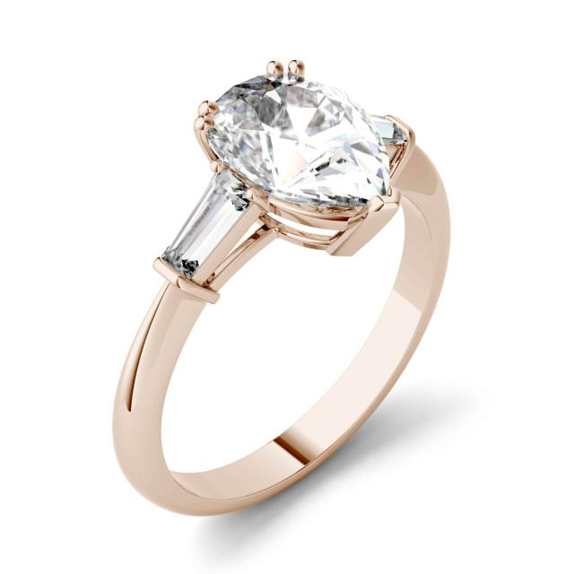 2.47 CTW DEW Pear Forever One Moissanite Three Stone Engagement Ring in 14K Rose Gold