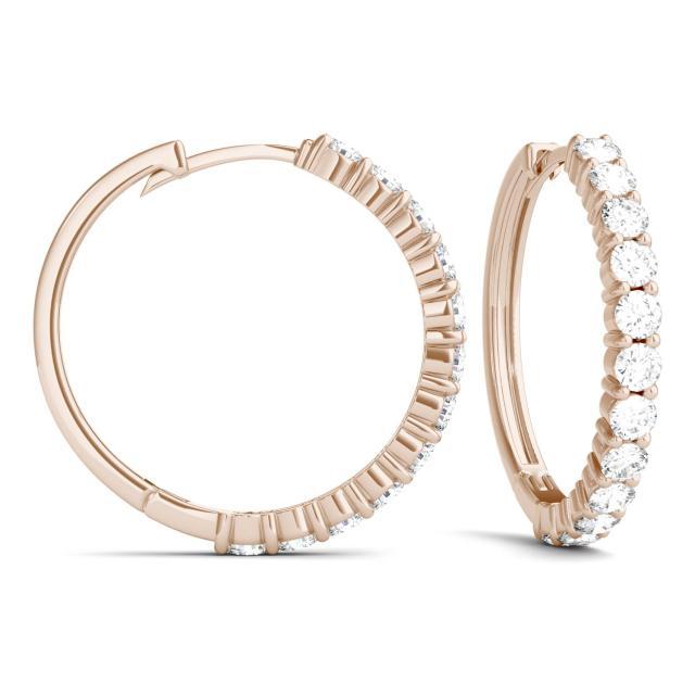 1.08 CTW Round Forever One Moissanite Shared Prong Hoop Earrings in 14K Rose Gold