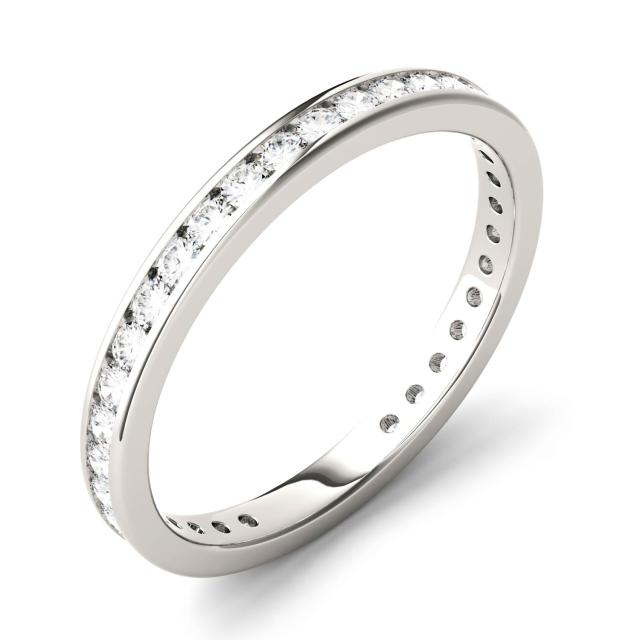 Forever One 0.50CTW Round Moissanite Channel Set Eternity Band in 14K White Gold