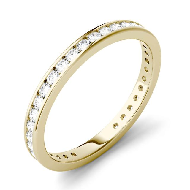 0.51 CTW DEW Round Forever One Moissanite Channel Set Eternity Band in 14K Yellow Gold
