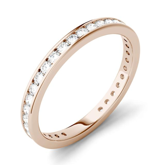 0.51 CTW DEW Round Forever One Moissanite Channel Set Eternity Band in 14K Rose Gold