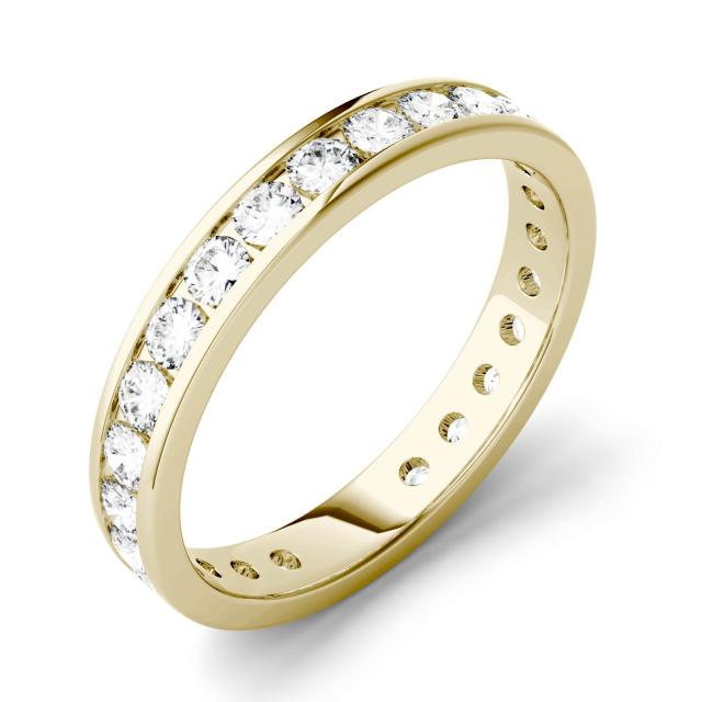 1.04 CTW DEW Round Forever One Moissanite Channel Set Eternity Band in 14K Yellow Gold