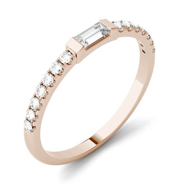 Forever One 0.33CTW Step Cut Baguette Moissanite Multi Stone Wedding Band in 14K Rose Gold