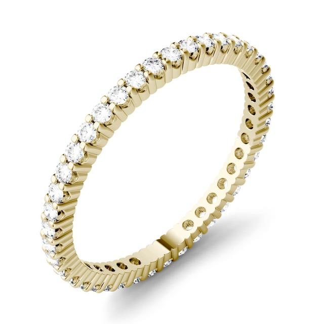 Forever One 0.50CTW Round Moissanite Prong Set Eternity Band in 14K Yellow Gold