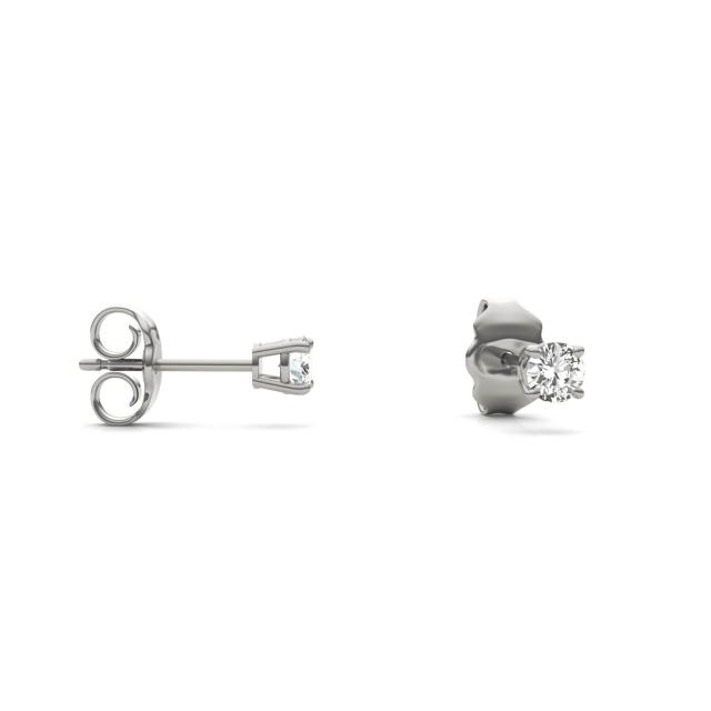 0.20 CTW Round Forever One Moissanite Four Prong Solitaire Stud Earrings in 14K White Gold