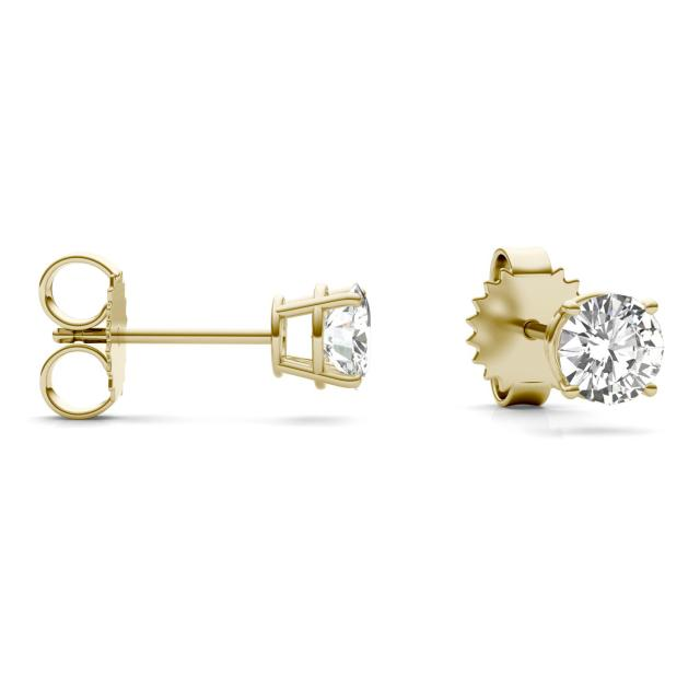 1.20 CTW Round Forever One Moissanite Four Prong Solitaire Stud Earrings in 14K Yellow Gold