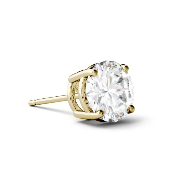 0.50 CTW Round Forever One Moissanite Four Prong Single Stud Earring in 14K Yellow Gold