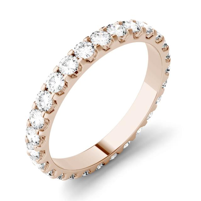Forever One 1.00CTW Round Moissanite Shared Prong Set Eternity Band in 14K Rose Gold