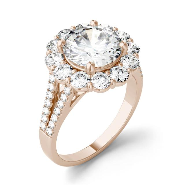4.22 CTW DEW Round Forever One Moissanite Split Shank Halo Engagement Ring in 14K Rose Gold