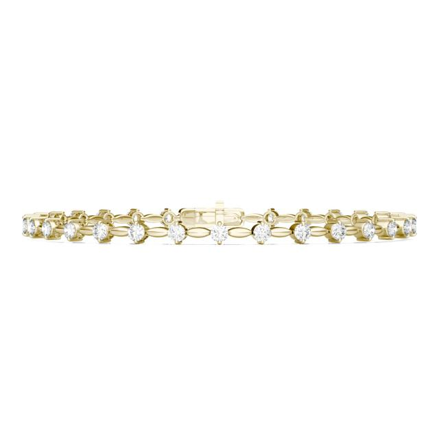 0.93 CTW Round Forever One Moissanite Link Tennis Bracelet in 14K Yellow Gold