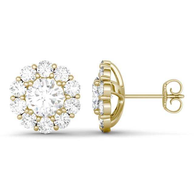 4.00 CTW DEW Round Forever One Moissanite Floral Halo Stud Earrings in 14K Yellow Gold