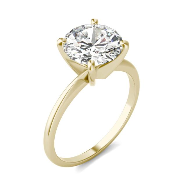 Forever One 2.70CTW Round Moissanite Solitaire Engagement Ring in 14K Yellow Gold