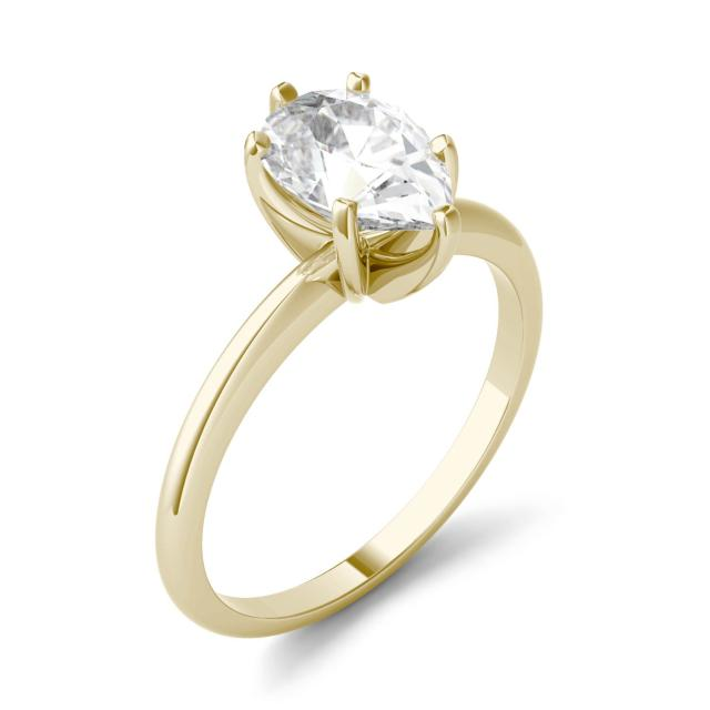 Forever One 2.10CTW Pear Moissanite Solitaire Engagement Ring in 14K Yellow Gold