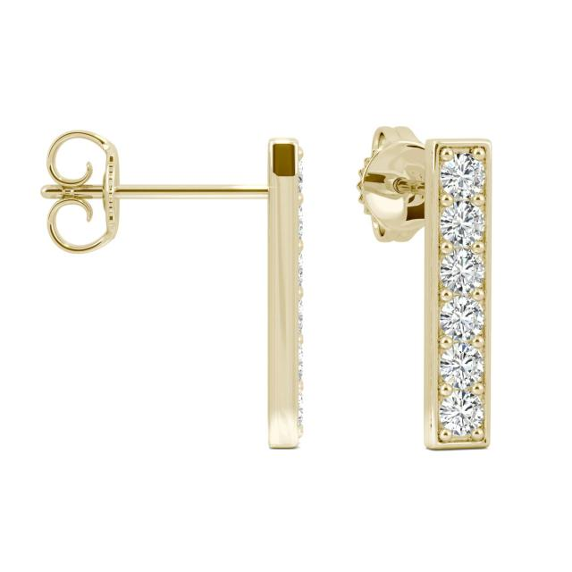 0.48 CTW Round Forever One Moissanite Vertical Bar Stud Earrings in 14K Yellow Gold
